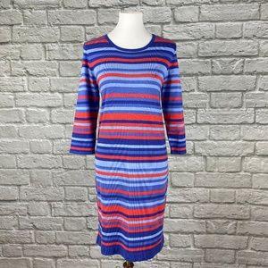 Michael Kors Blue/Orange Striped Sweater Dress